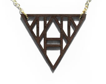 Geometric Triangle Laser Cut Wooden Necklace 6
