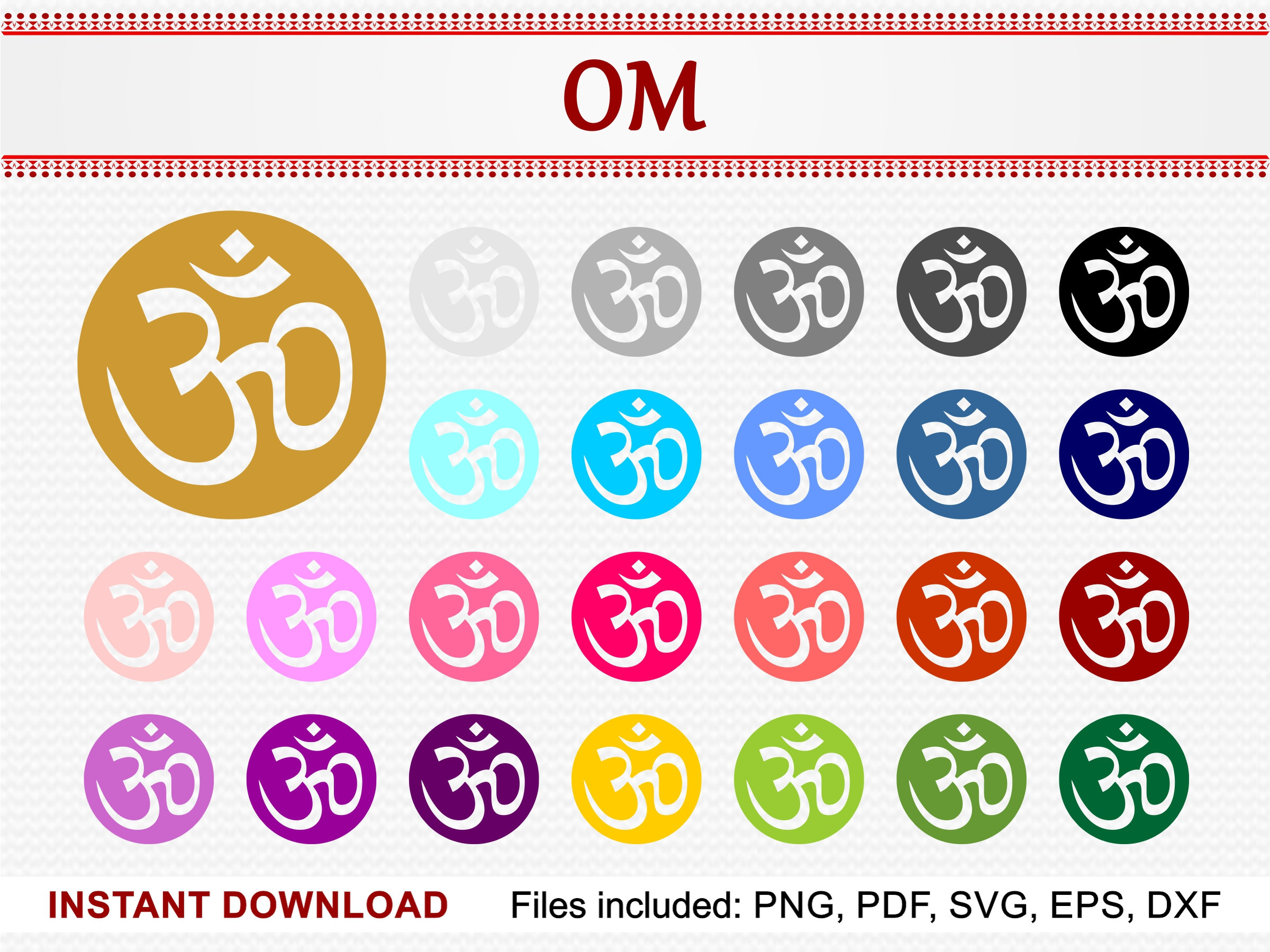 Om symbol set of 25 colors commercial use clipart ohm aum zoom biocorpaavc