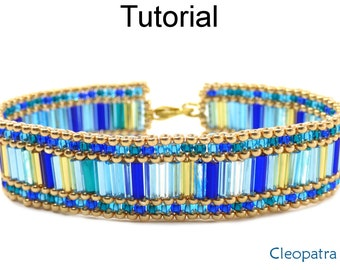 Peyote Stitch Beading Pattern - Beaded Bracelet Tutorial - Bugle Beads - Simple Bead Patterns - Cleopatra #18481
