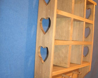Rustic Country wooden Trinket Shelf with heart, natural walnut stain, Wooden shadowbox, wooden wall shelf, knick-knack shelf