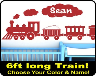 "Personalized LARGE Train Wall Decal for boys nursery (6ft long x 15"" tall)  Vinyl Choo Choo train wall decor - boys name wall decal"