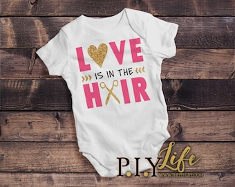 Kids | Love is in the Hair Stylist Kids Bodysuit DTG Printing on Demand