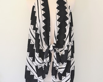 Timeless B&W - Chevron Print Kimono Duster Wrap, Boho Kimono Wrap, Plus size, Chevron Print Kimono, Boho Kimono Women's Kimono Duster, Boho