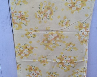 Vintage Floral standard retro yellow pillowcase with tan, orange yellow, and white flowers, bedding, linens, floral,