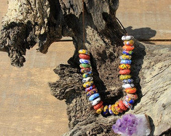 Sand Cast Glass beads Necklace // Ghana bead Necklace // Handmade // Muladhara Creations // Intuition, Meditation