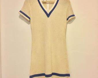 Nautical 60's knit mini dress