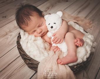 Newborn photo prop crocheted buddy bear,bonnet, photo prop, gift, coming home, boy, girl, knit, crochet,
