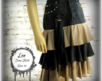 Upcycled denim skirt, Denim skirt, designer skirt, women's skirt,  Size 10    # 14