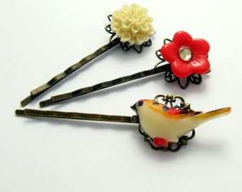 Bird Hairpins, Red Flower Hairpins, Bird Bobby pin, Yellow Flower Bobby Pins, Gift for Her Jewelry