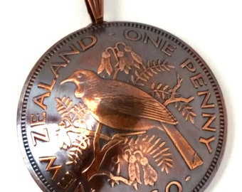 Beautiful Bird on a Branch Copper Coin Jewelry Pendant New Zealand One Penny Copper Jewelry Coin Necklace,Bird Jewelry,Bronze Coin Jewelry