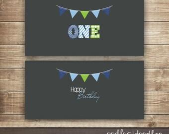 Boy's 1st Birthday Juice Box Wraps / First Birthday / Juice Box Labels / Birthday and ONE labels / Blue, Green & Gray  -  Printable