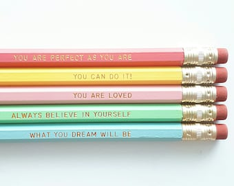 Motivational pencils - Engraved pencils - Self care - Mother's Day - Gift for her - Stationery - Female empowerment - Teen gift, Cheer up