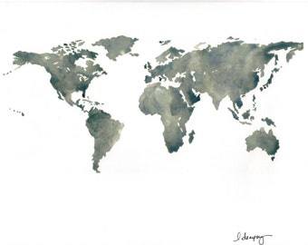 Linen world map etsy watercolor print of world map on high quality acid free linen paper gumiabroncs Images
