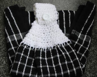 Set of 2 Crochet Top Dish Towels - Olive Theme Dish Towel Set - Black Checked Tea Towel - Hanging Dish Towel - Kitchen Towel Set -Dish Cloth