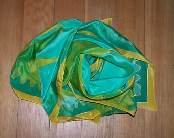 Handpainted Silkscarf Mountains in yellow and green, silk, scarf, square, silkpainting, one of a kind, Crêpe de Chine, unique, wearable art