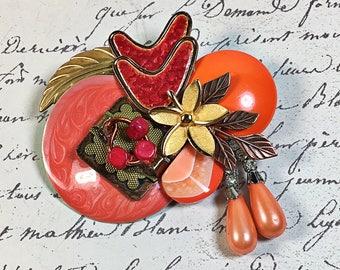 Katie orange vintage collage brooch pin upcycled rhinestone pearl flowers Wedding Day Birthday boomerang