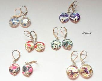 Boucles d'oreilles dormeuses colorées tendances Nacre fleurs au choix argent 925 cadeau pour elle
