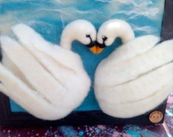 Fiber Art /Love Swans /Needle Felted /wedding gift