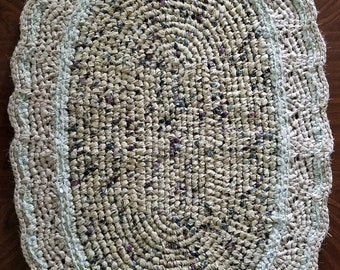 "Rag Rugs, Crocheted Rugs, 44"" Handmade Rugs, Creamy Beige Rag Rug, Off White Bathroom Rug, Housewarming Gifts, Creamy Farmhouse Kitchen Rugs"