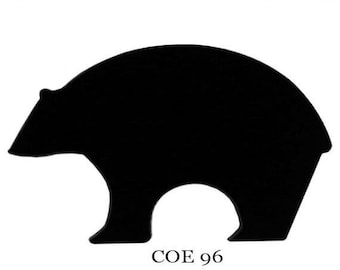 On Sale SPECTRUM COE 96 Black Bear Precut Fusible Opaque Glass Black Fusing Supplies