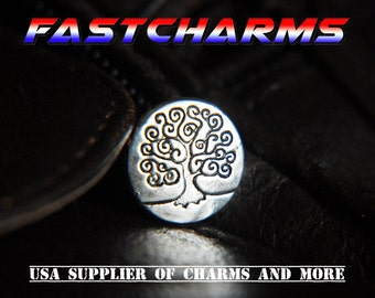 TREE OF LIFE Metal Shank Buttons, 14mm, antique silver plated,6/30 pcs,jewelry making supplies,beading supplies,charms for bracelets, (YB7I)