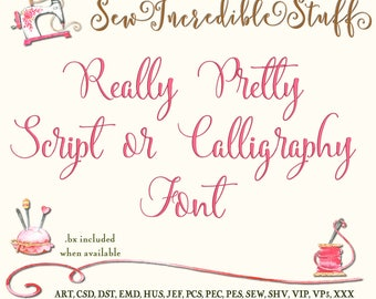 Really Pretty Calligraphy or Script Machine Embroidery Font, upper case, lower case and numerals