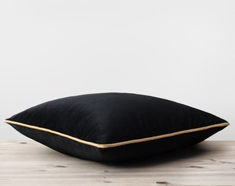 Black Velvet Pillow Cover with Gold Cording Black and Gold Pillows Velvet Throw Pillow Modern Brass Trim Cushion Black Velvet Bedding Decor