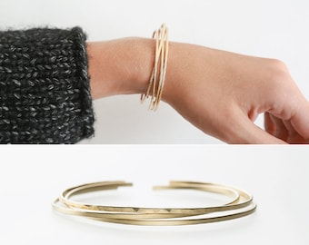 Thin Modern Cuff Bracelet, Stacking Bracelet, Hand-Hammered or Smooth Finish • Dainty Cuff in 14k Gold Fill, Sterling, or Rose Gold • LB118