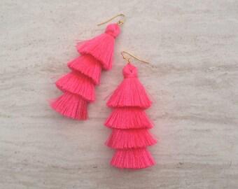 "Cha Cha Barbie Pink Tassel Earrings, Stacked Tassle Earrings Layered Pink Tassel Earrings,3"" Pink Drop Earrings, Wholesale Jewelry E052"