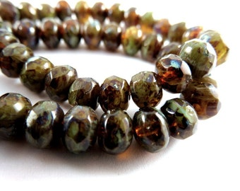 25 Amber Green Czech Rondelle Faceted Transparent Opaque Full Picasso Topaz Beads 7x5mm Hole 1mm - 25 pc - G6036-BROP25