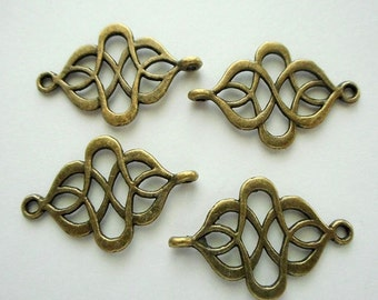 "6pcs- 2 loop-1.25"" Filigree connector-Antique brass metal bracelet connector, earring connector"