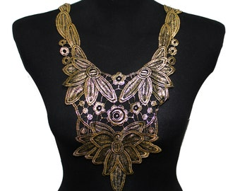 Black and Gold Lace Necklace Applique for Garments and Crafts