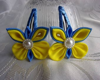 2x Kanzashi hair clip for little girls/Blue and yellow hair clip/Butterfly hair clip/Hair accessories for children