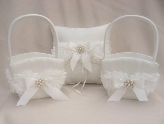 Two Flower Girl Baskets And Ring Bearer Pillow Set Flower Girl