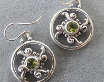 Sterling Silver Swirl Circle Peridot Earrings, August Birthstone