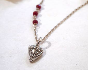 """Handmade Heart Charm Necklace """"one of a kind"""" Fine Silver and Faceted Rubies"""