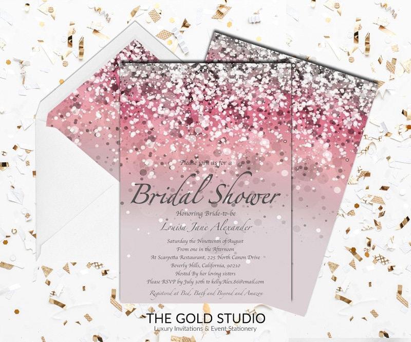 Modern pink bridal shower invitation elegant pink glitter bridal modern pink bridal shower invitation elegant pink glitter bridal shower glamorous bride to be pink printed bridal shower invitations filmwisefo