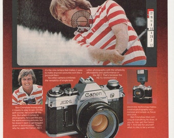 1979 Advertisement Ben Crenshaw for Canon AE-1 Camera Sports Golf Golfer SLR Film Electronic Studio Photography Bar Pub Wall Art Decor