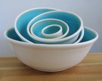 Ceramic Nesting Bowls in Turquoise Blue, Large Set of Pottery Serving Bowls, Wedding Gift, Handmade Wheel Thrown Stoneware