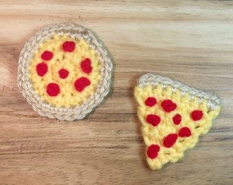 Pizza Applique Crochet Pattern, Instant Download PDF, Embellishment Crochet Pattern, Easy Crochet Pattern, Crochet Applique Pattern