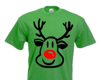 Rudolph The Red Nosed Reindeer Face T-Shirt, Xmas - All Sizes & Colours