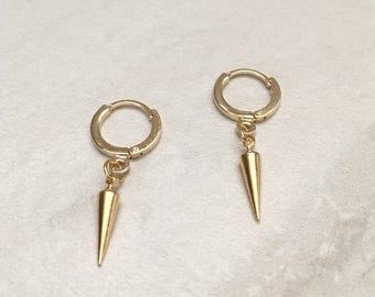 Spike Earrings,Small Gold Spike Hoop Earrings,Small Gold Spike and Hoop Earrings,Gifts for Her,SKU: ER108G