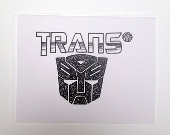 Transformer Trans* - Queer Hand Lettered Greeting Card