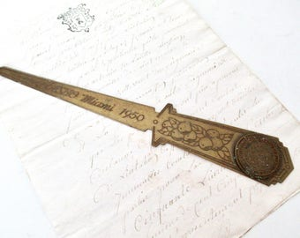 Vintage Advertising Letter Opener, AASHO Miami 1950, Great Seal of the State of Florida, American Association of State Highway Officials