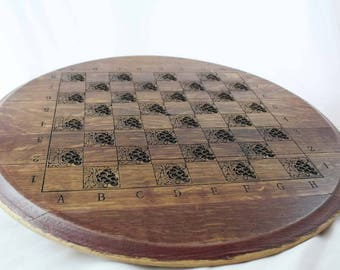 Napa Valley Wine Barrel Carved Wood Chess Board