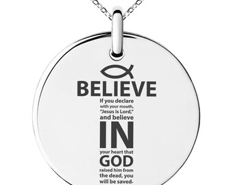 Stainless Steel Believe in God Romans 10:9 Engraved Small Medallion Circle Charm Pendant Necklace / Silver / Black / Rose / Gold