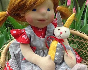 Waldorf Doll  Peony -  Waldorf inspired doll, Steiner doll, cloth doll,organic waldorf doll