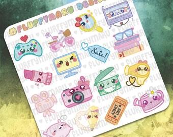 Hobbies and Leisure Sampler Stickers    Planner Stickers, Cute Stickers for Erin Condren (ECLP), Filofax, Kikki K, Etc.    SS02