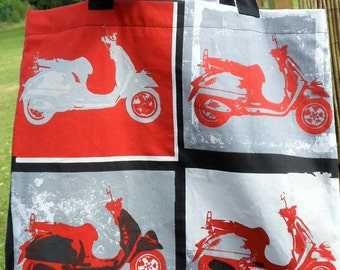 """Shopping bag """"Scooters"""" way Andy Warhol black, grey and red"""