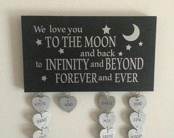 I love you to the moon and back with hanging hearts #M8530